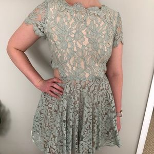 Bebe sage lace fit-and-flare dress